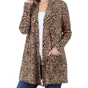 Leopard Animal Print Open Front Cardigan Lightweight